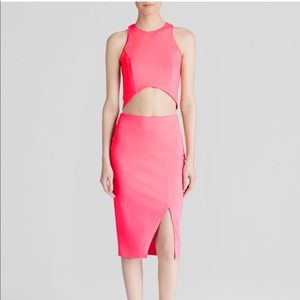 Lucy Paris pink crop top and skirt with slit